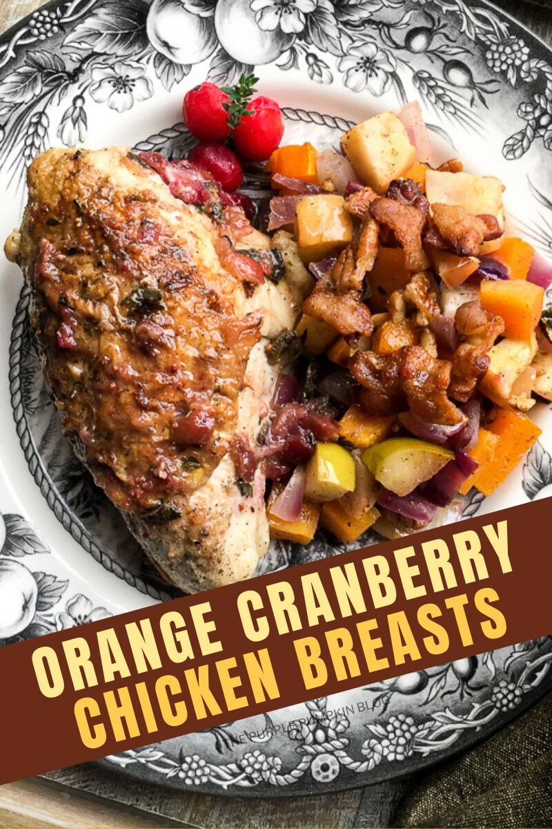 "A plate with a roast chicken breast with apple and butternut squash casserole on the side. Text overlay says""Orange Cranberry Chicken Breasts"". Similar photos of the recipe/dish from various angles are used throughout and with different text overlay unless otherwise described."