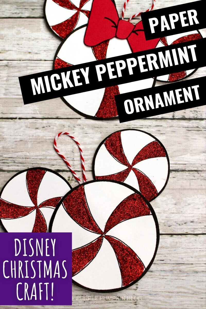 Paper Mickey Peppermint Ornament - Disney Christmas Craft!