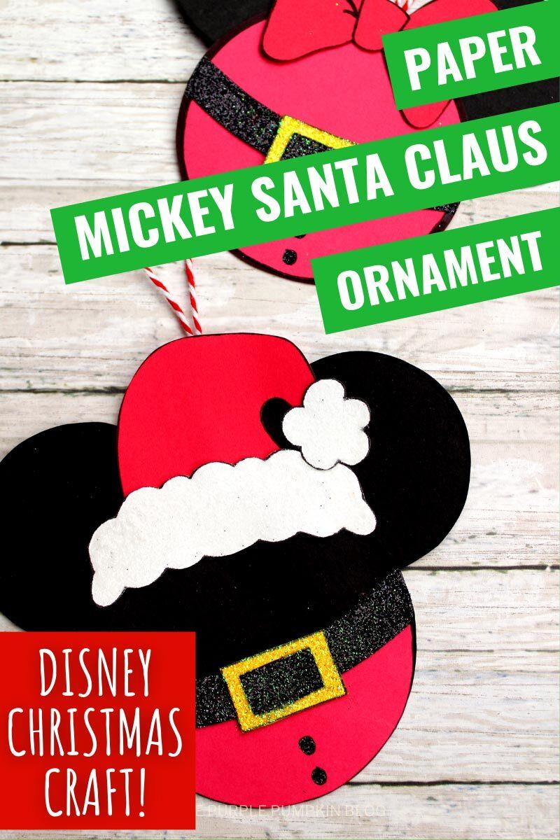 Paper Mickey Santa Claus Ornament - Disney Christmas Craft!