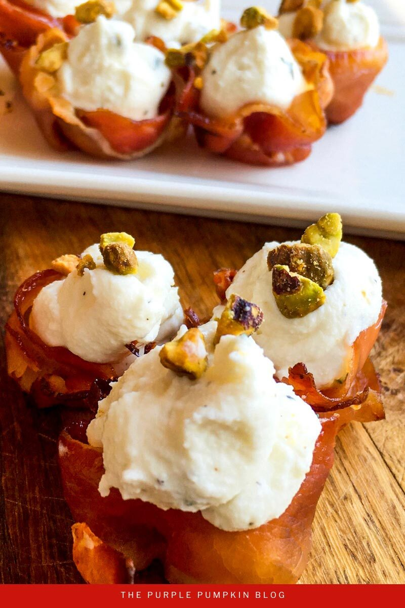Prosciutto Baskets with Whipped Goat Cheese Filling Appetizer