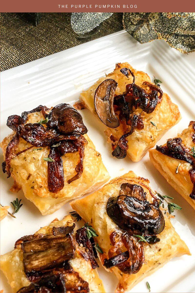 Recipe for Caramelized Onion & Mushroom Puff Pastry Bites