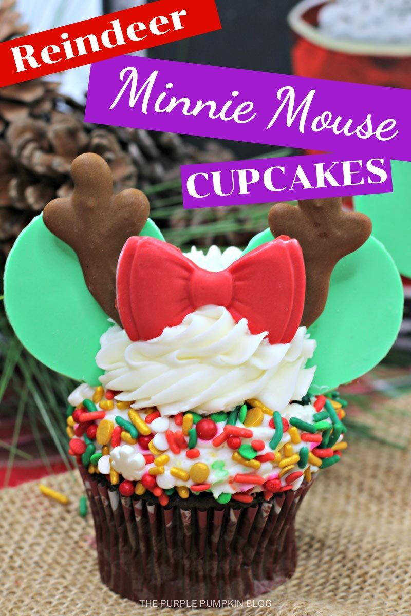 Reindeeer Minnie Mouse Cupcakes for the Holidays