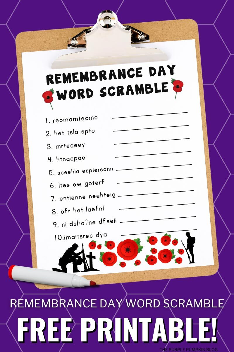 Remembrance Day Word Scramble Free Printable to Download