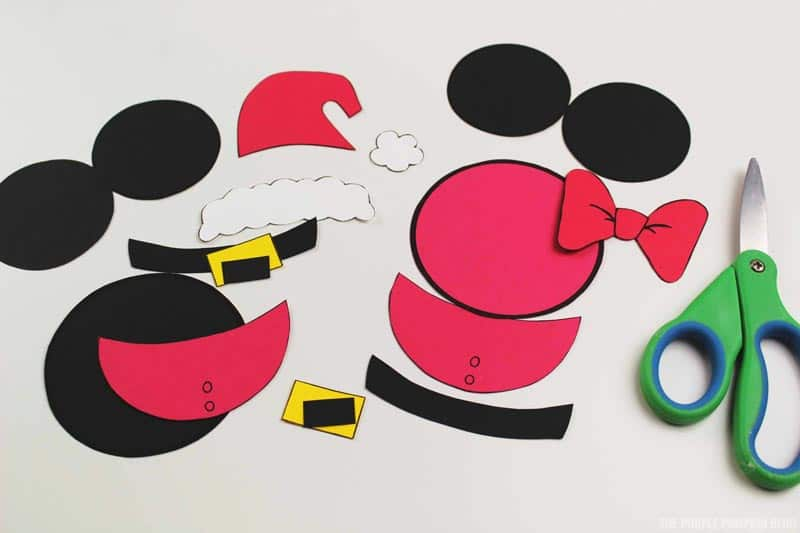 Santa Mickey & Minnie Ornament Pieces