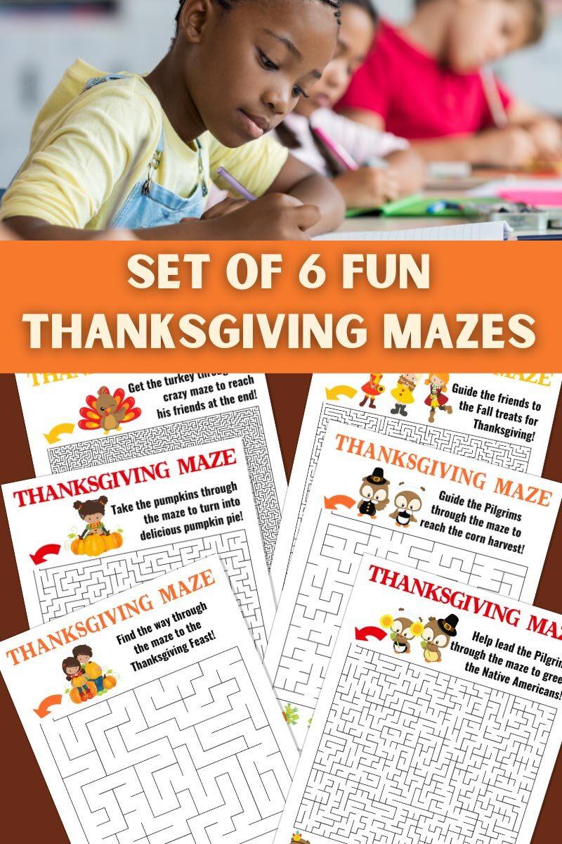 Set of 6 Fun Thanksgiving Mazes