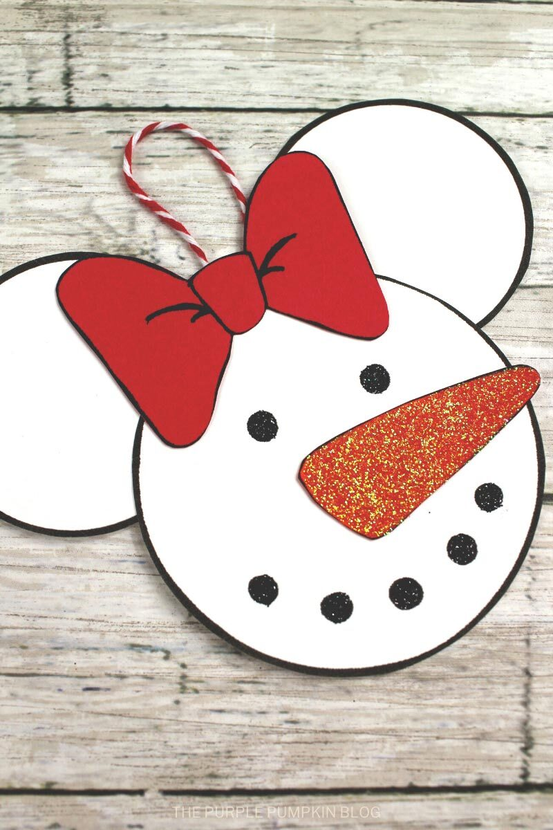 Snowman Minnie Mouse Christmas Ornament Craft