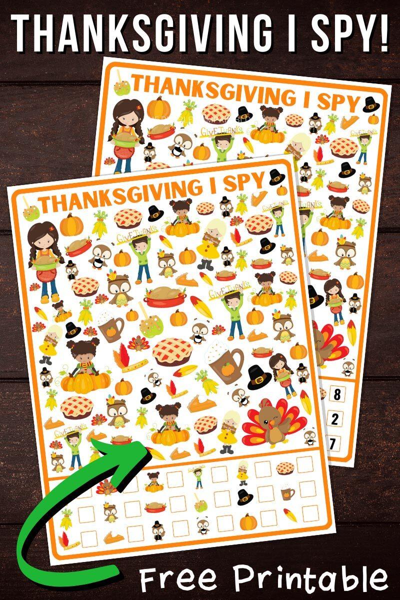 Thanksgiving I Spy Free Printable