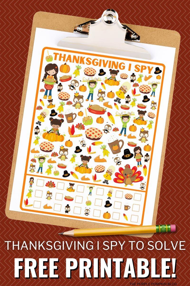 Thanksgiving I Spy To Solve - Free Printable!