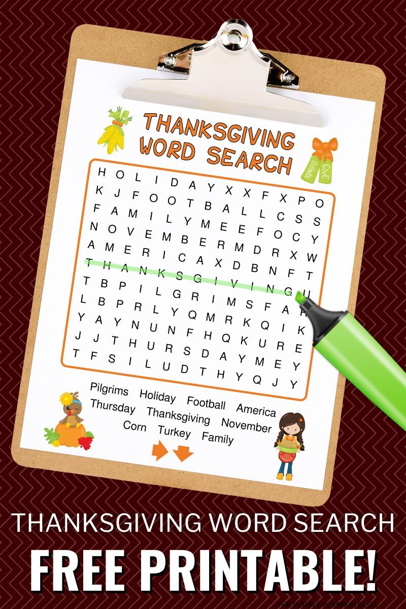 Thanksgiving Wordsearch Free Printable