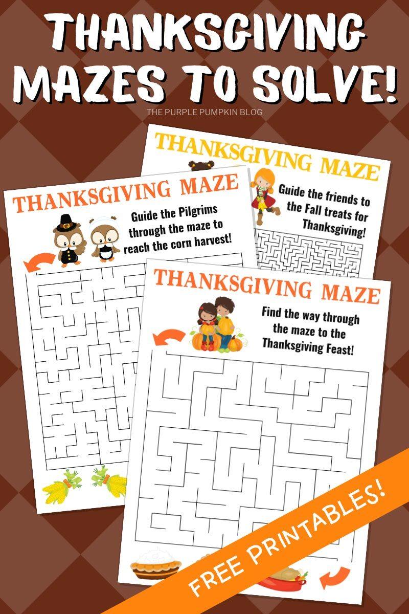 Thanksigiving Mazes To Solve - Free Printables!