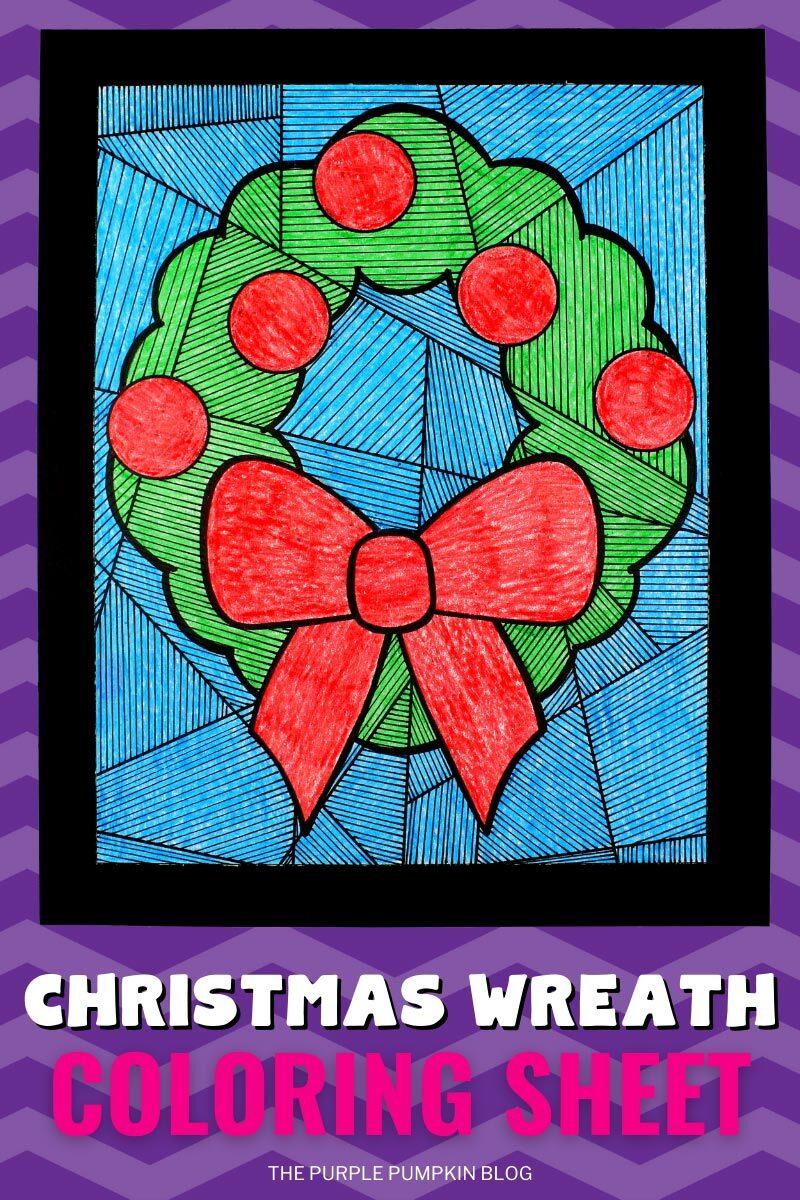 Free Printable Christmas Wreath Coloring Sheet & Line Study Activity