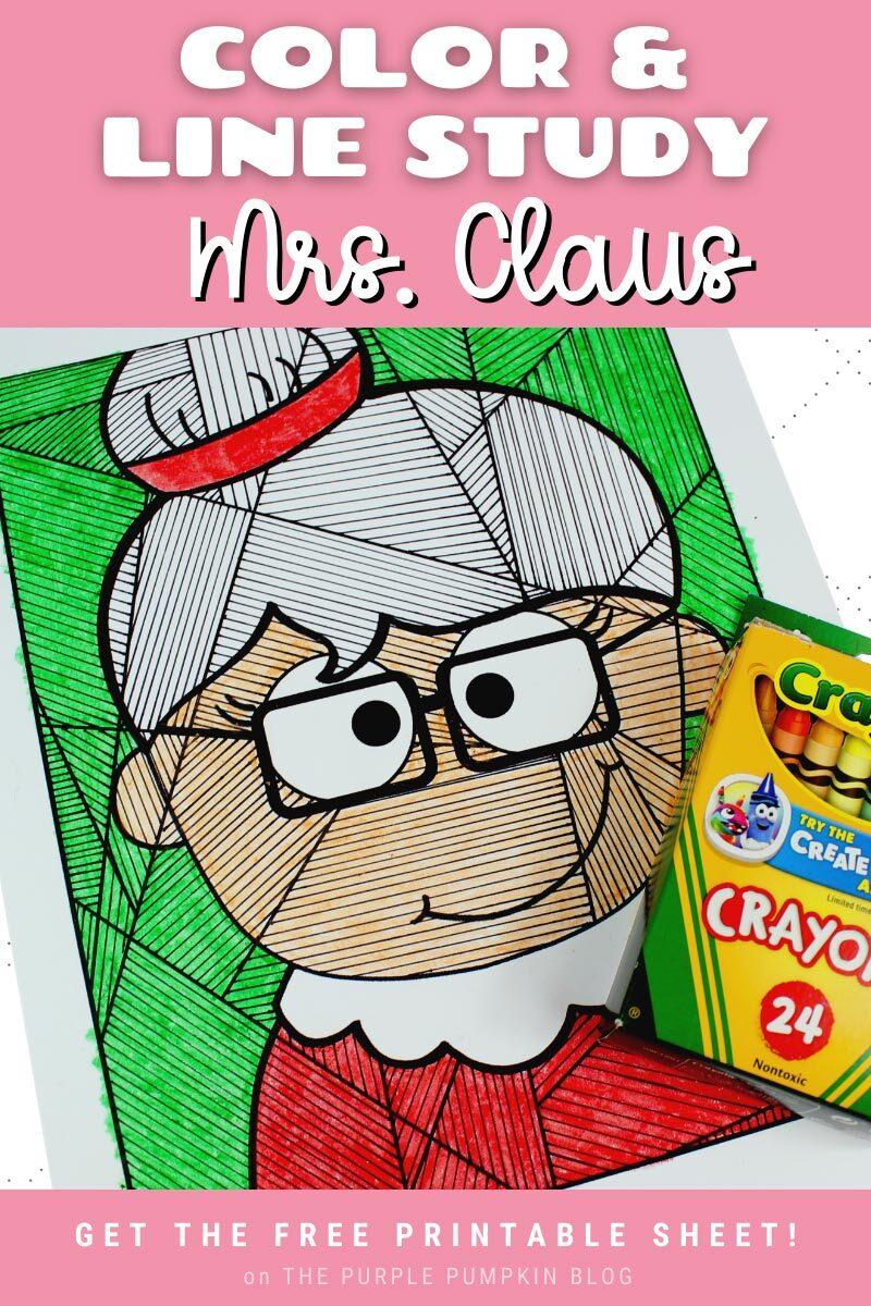 Color & Line Study Mrs Claus Printable
