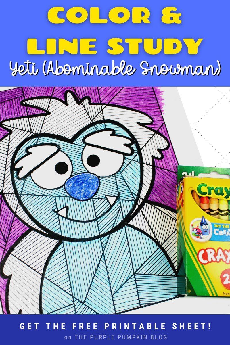 Color & Line Study Yeti (Abominable Snowman) Printable