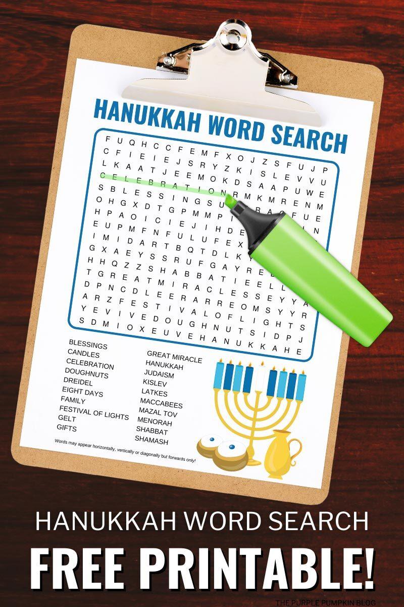 Free Hanukkah Word Search Printable
