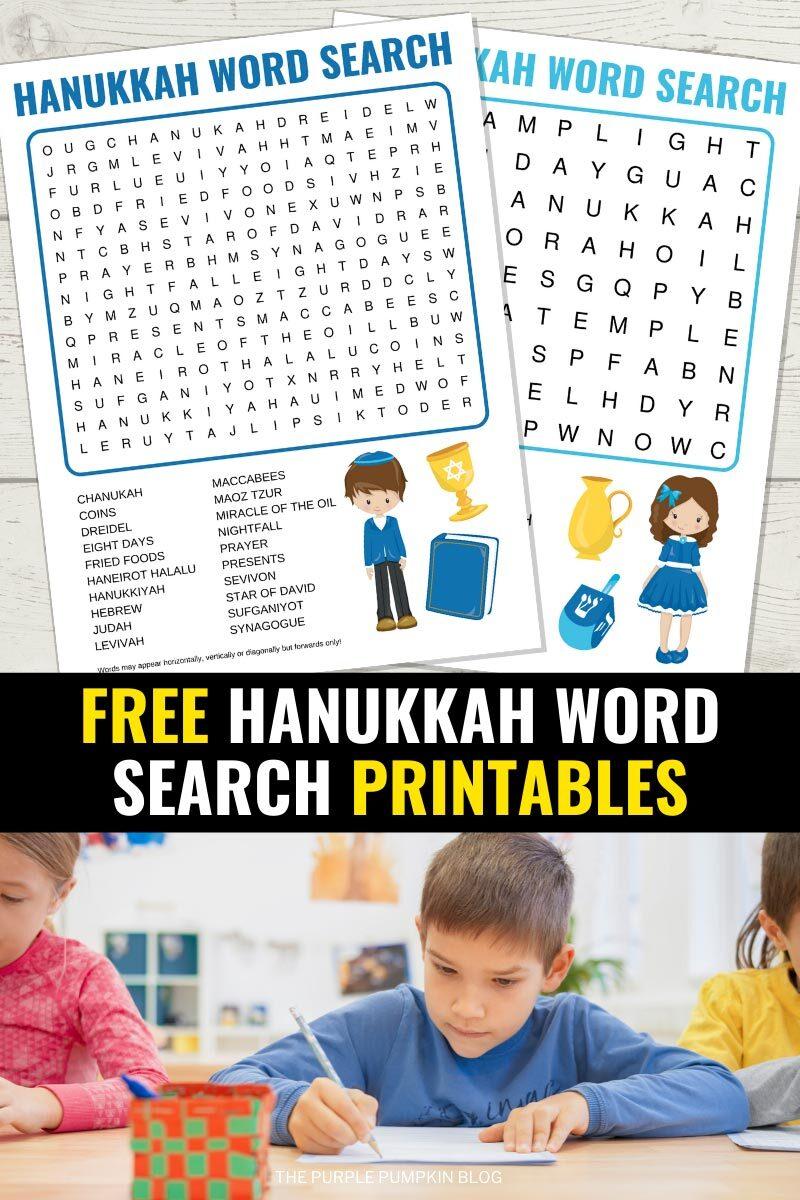 Free Hanukkah Word Search Printables