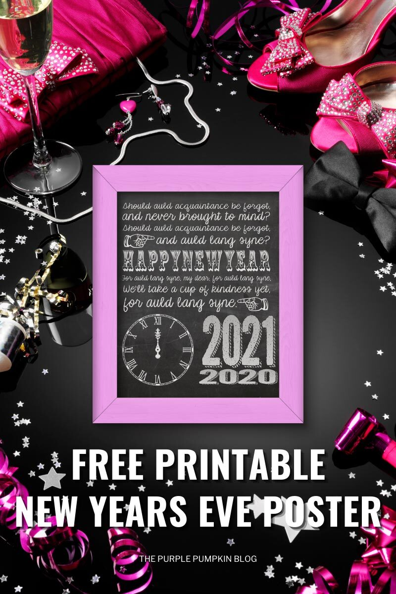 Free Printable New Years Eve Poster mockup in a pink frame surrounded by pink streamers, star confetti party poppers.