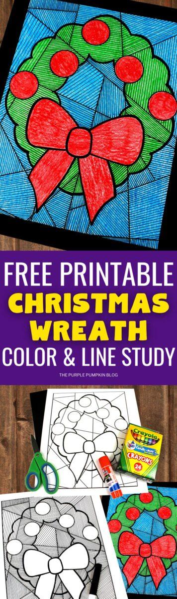 Free Printable Christmas Wreath Color & Line Study