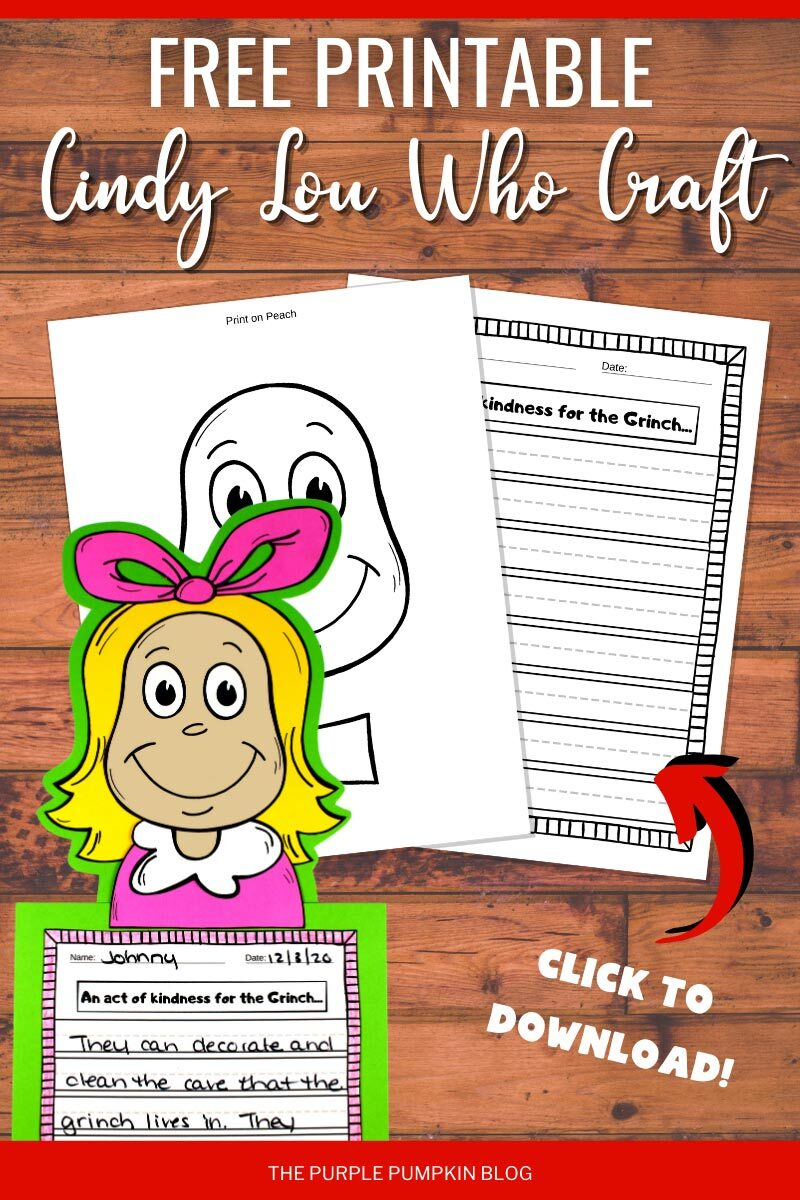 Free Printable Cindy Lou Who Craft to Download