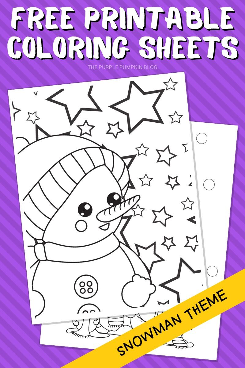 Free Printable Coloring Sheets - Snowman Theme