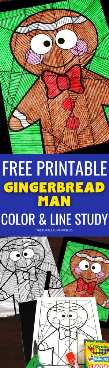 Free Printable Gingerbread Man Color & Line Study