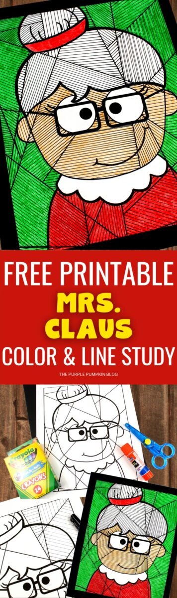 Free Printable Mrs Claus Color & Line Study