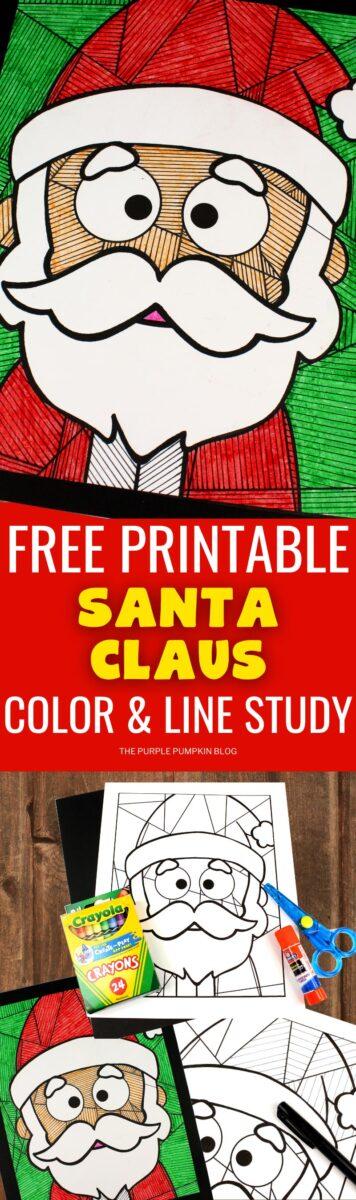 Free Printable Santa Claus Color & Line Study