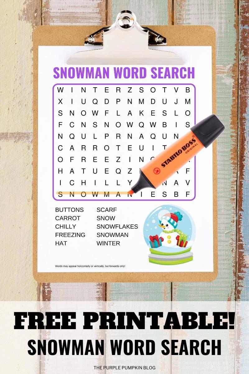 Free Printable Snowman Word Search