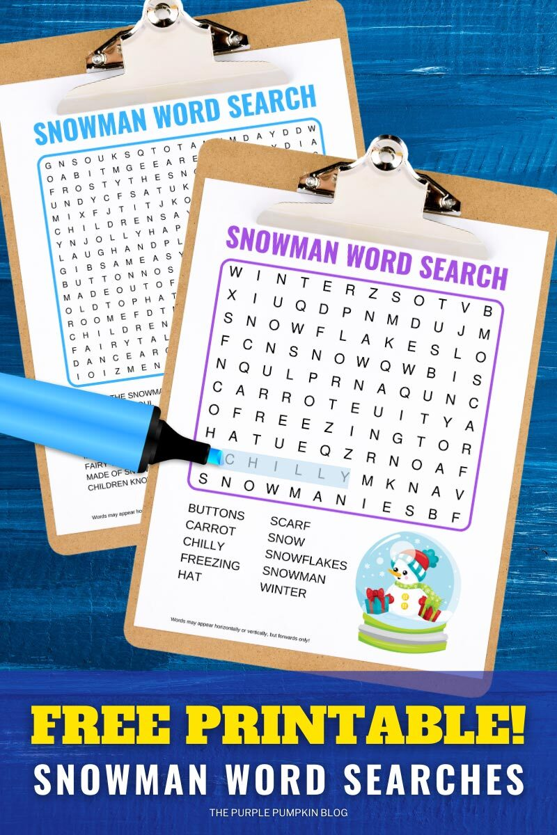 Free Printable Snowman Word Search Puzzles
