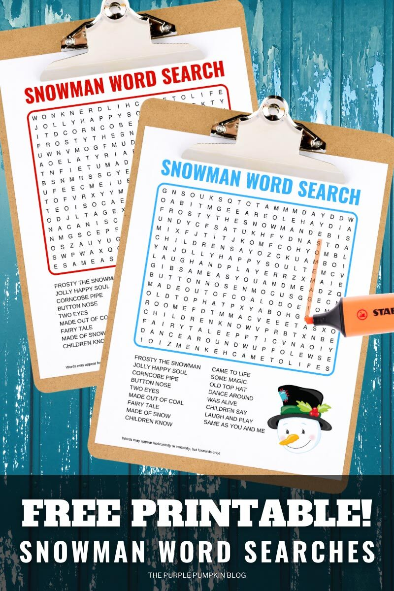 Free Printable Snowman Word Searches to Solve