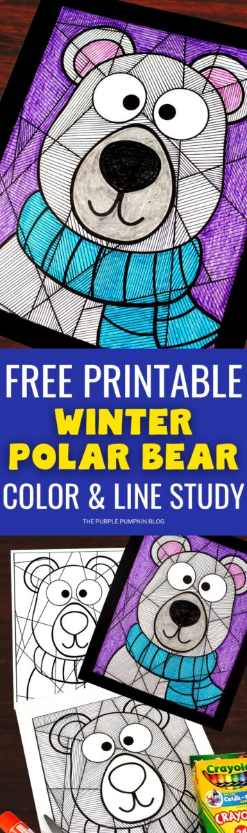 Free Printable Winter Polar Bear Color & Line Study