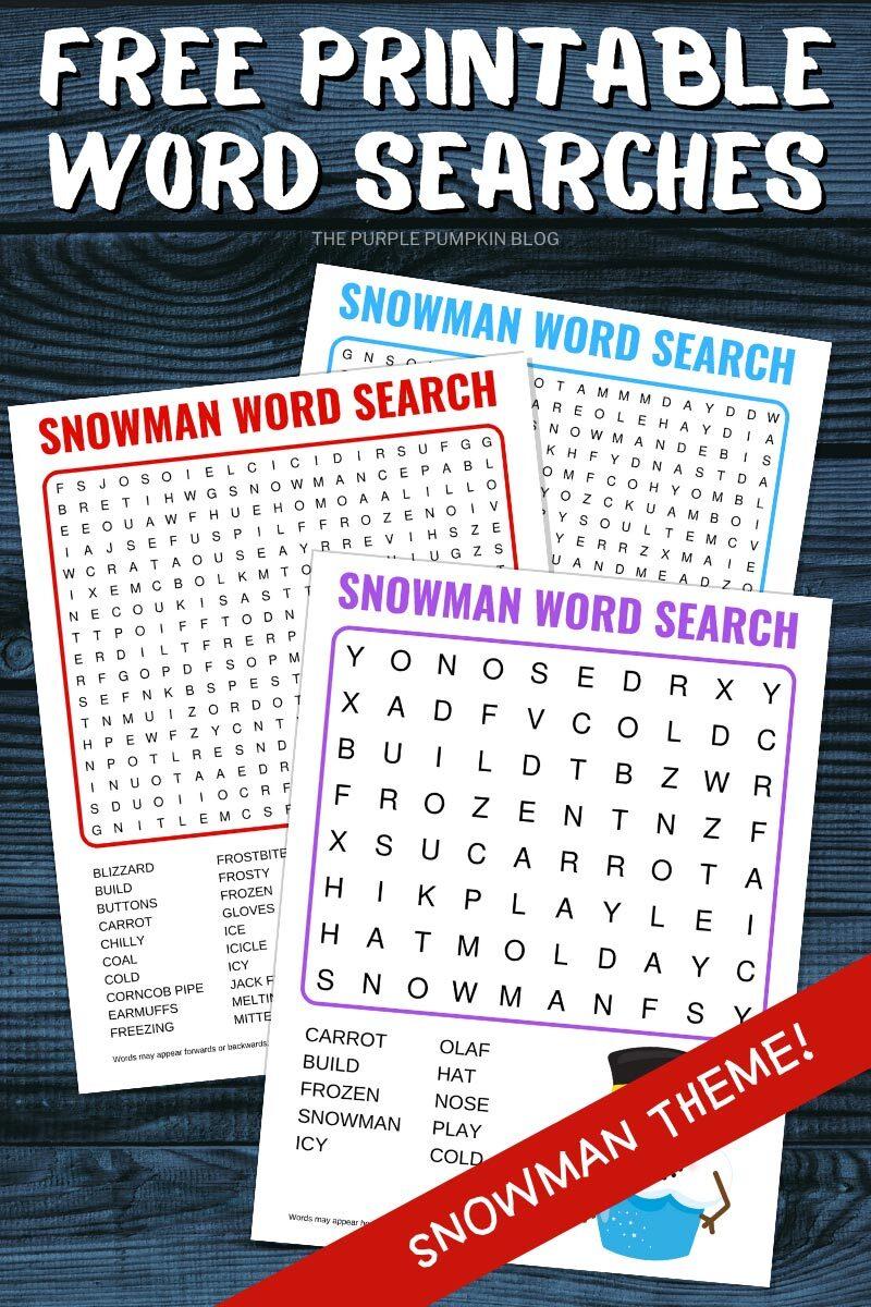 Free PrintableWord Searches - Snowman Theme