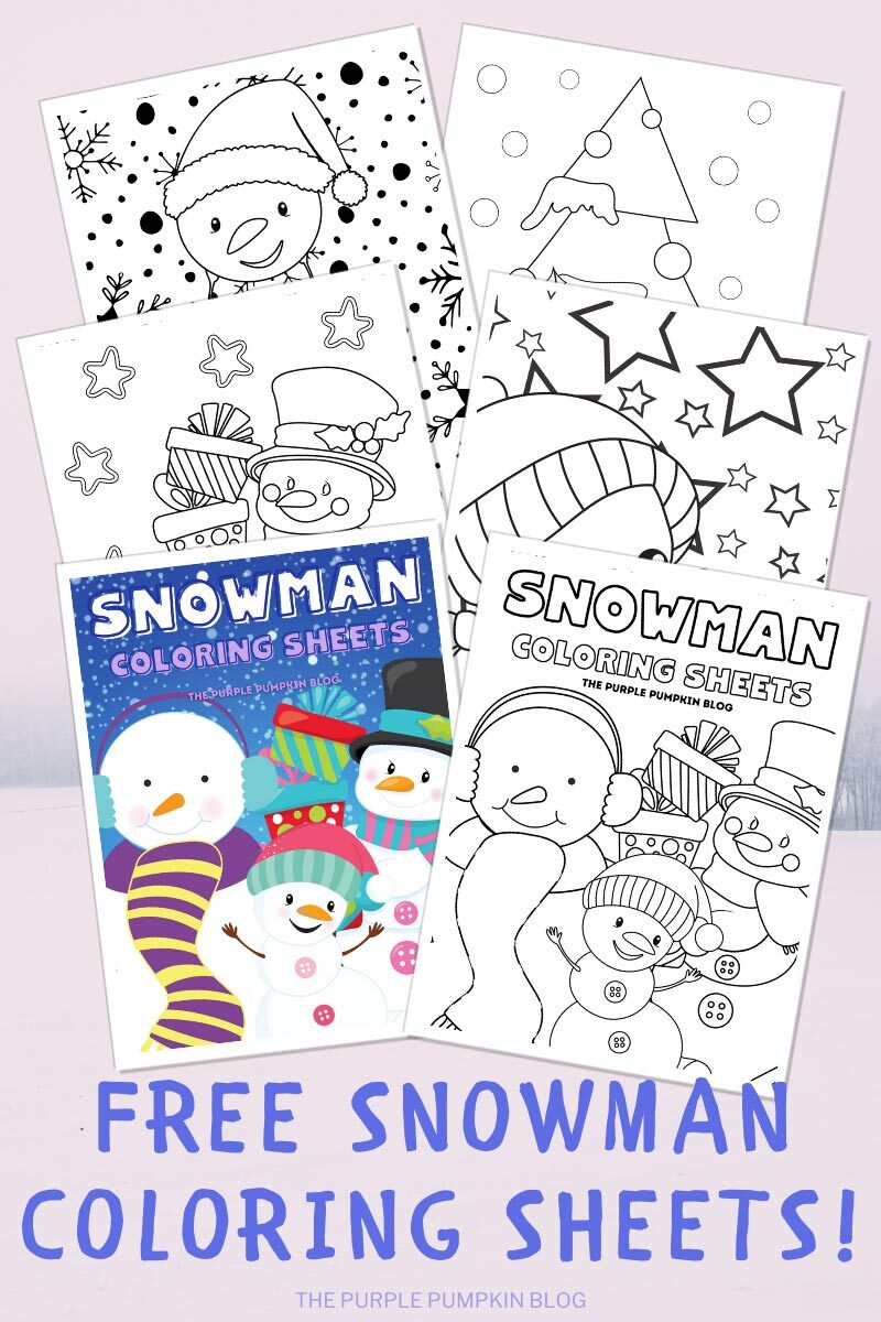 Free Snowman Coloring Sheets To Print at Home! Digital images as described in blog post.