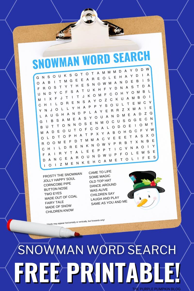 Free Snowman Word Search Printable