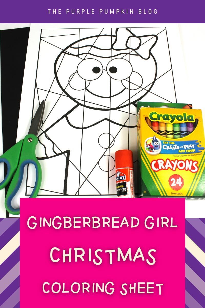 Gingerbread Girl Christmas Coloring Sheet