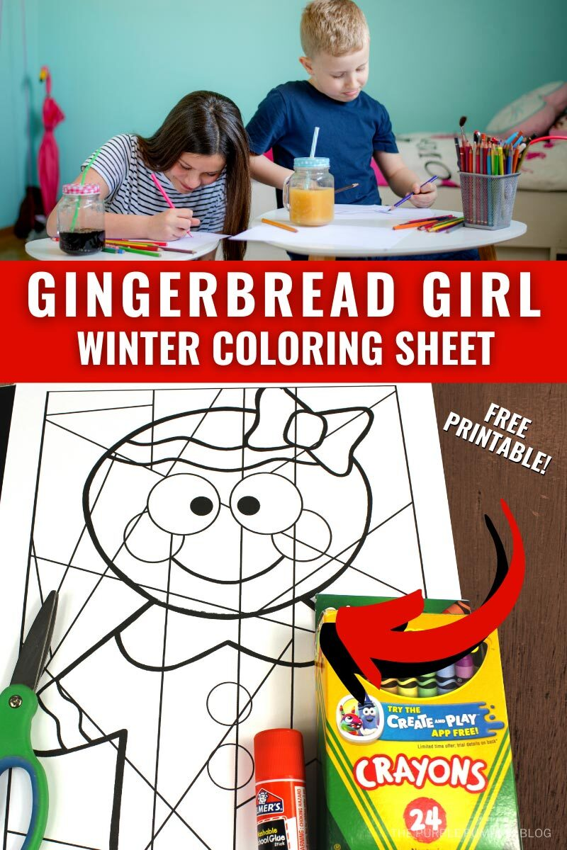 Gingerbread Girl Winter Coloring Sheet