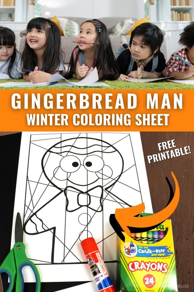 Gingerbread Man Winter Coloring Sheet