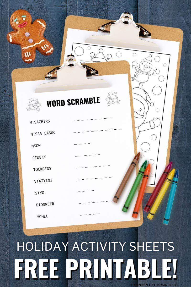 Holiday Activity Sheets Free Printable