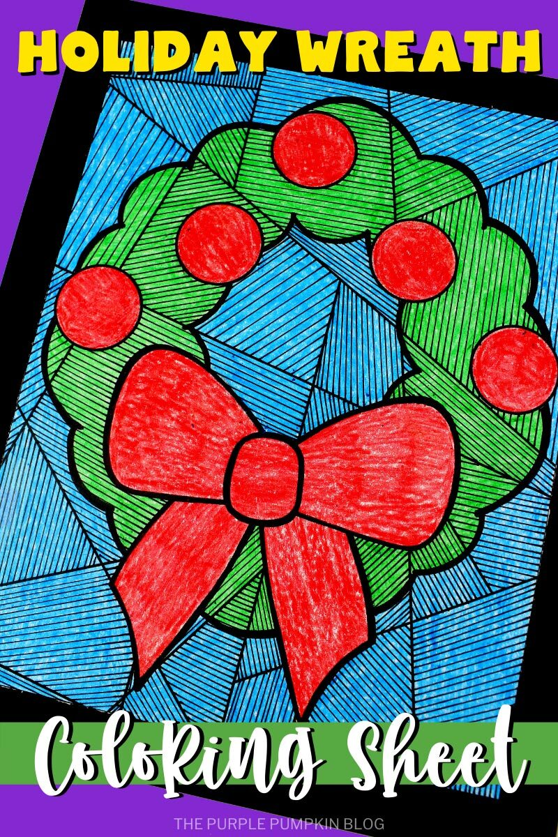 Holiday Wreath Coloring Sheet