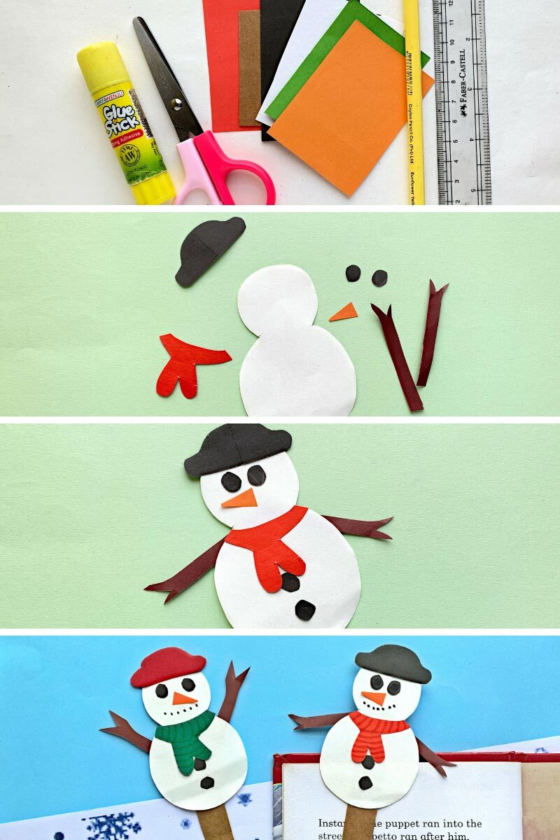 Four photo collages showing How To Make Paper Snowman Bookmarks. 1. paper craft supplies, 2. cut paper snowman pieces. 3. paper pieces stuck in place. 4. completed snowman bookmarks.