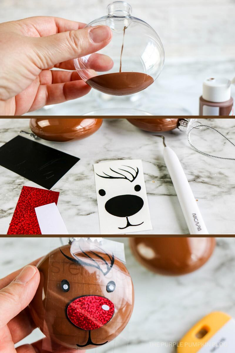 Three photos demonstrating How to Make a Reindeer Ornament. First photo shows paint being poured into a clear ornament. Second photo shows the cut vinyl decals. Third photo shows the vinyl decals placed on the front of the ornament.