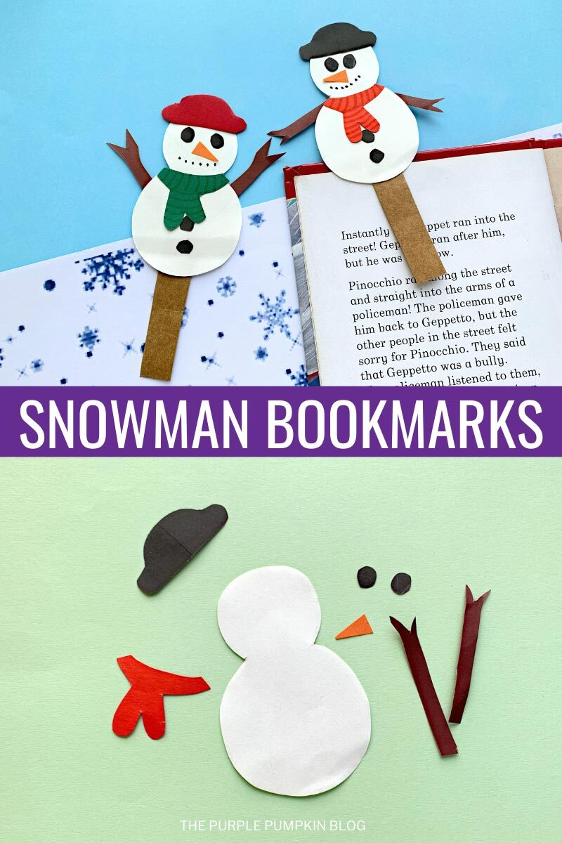 Paper Snowman Bookmarks Craft