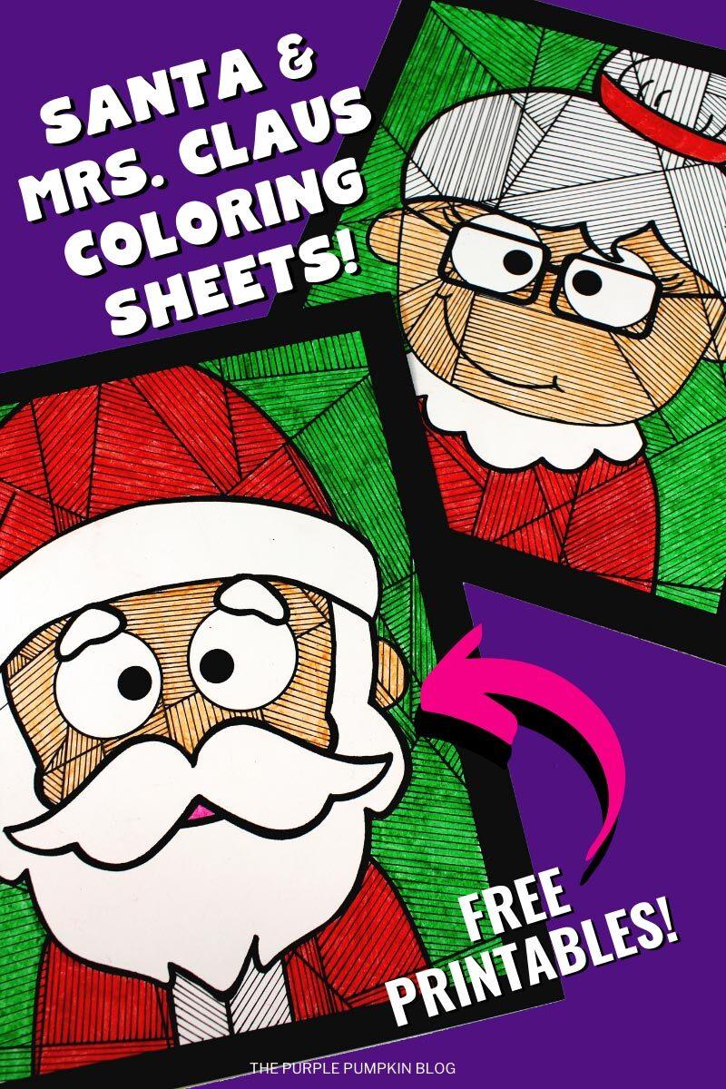 Santa & Mrs Claus Coloring Sheets