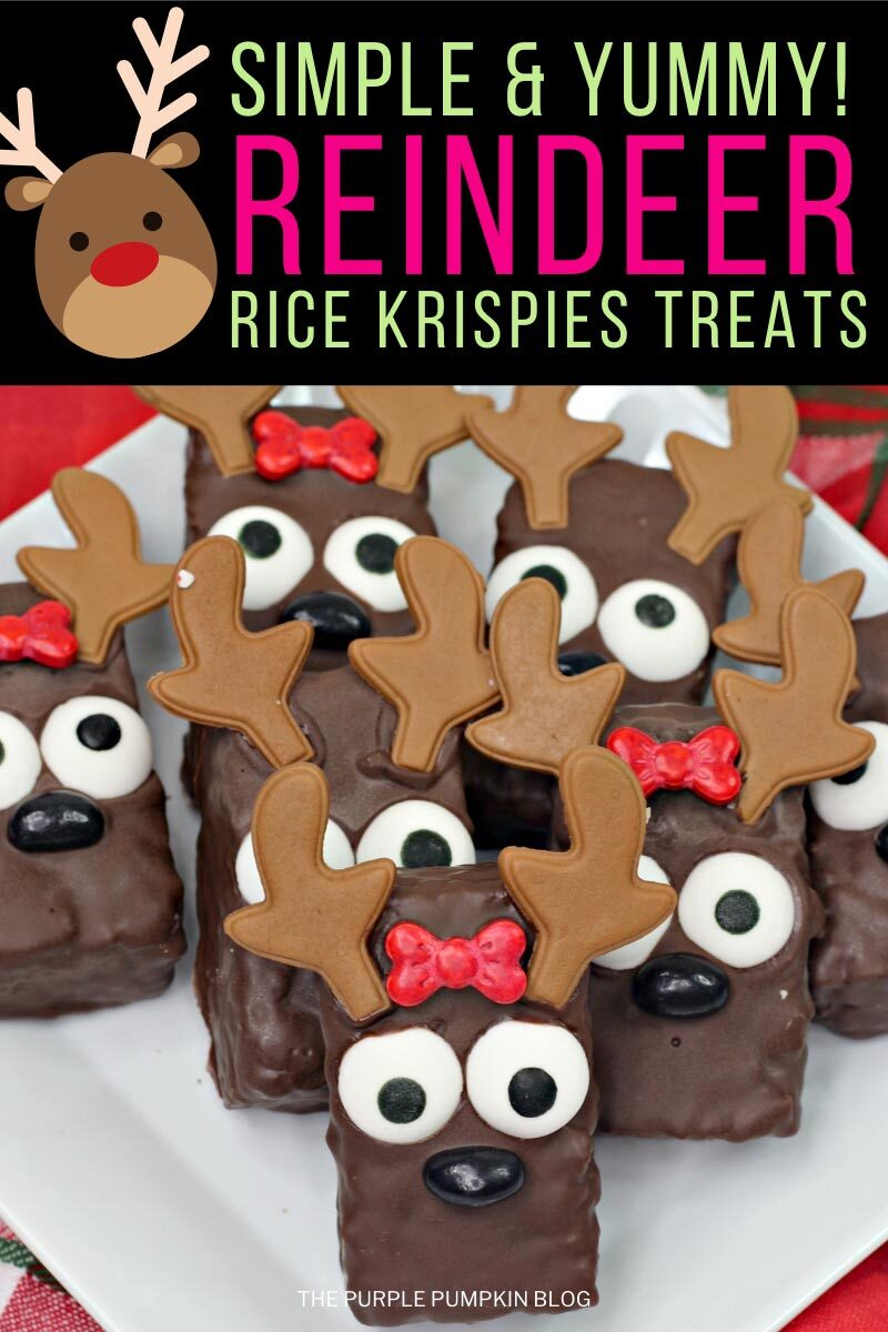 "A plate of the holiday treats - rice krispies bars covered in chocolate and decorated with icing antlers, and candy eyes, nose and bow. Text overlay says""Simple & Yummy Reindeer Rice Krispies Treats"". Similar photos of the recipe from various angles are used throughout with different text overlay unless otherwise described."