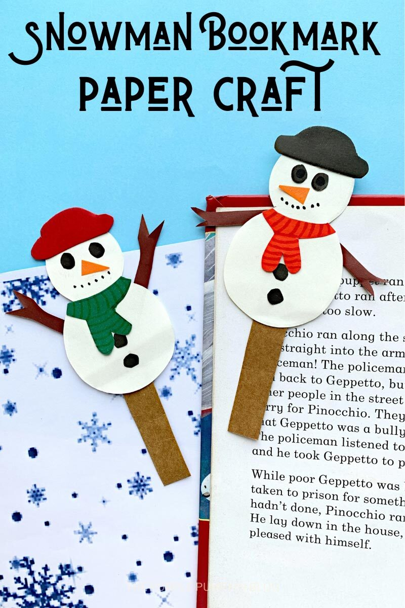 "Two paper snowman bookmarks sat on an open book on a blue snowflake background. Text overlay says""Snowman Bookmark Paper Craft"". Similar photos of the craft from various angles are used throughout with different text overlay unless otherwise described."