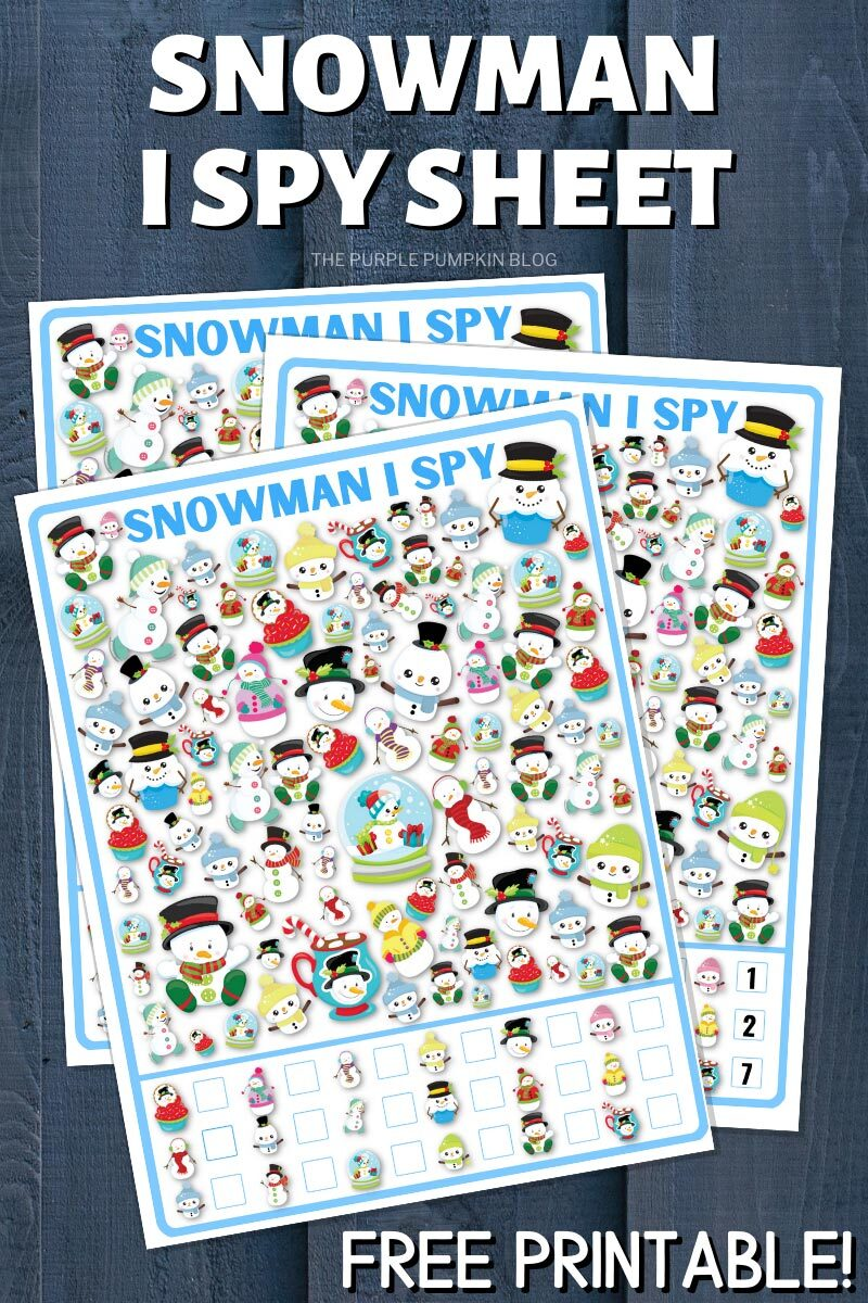 Snowman I Spy Sheet - Free Printable