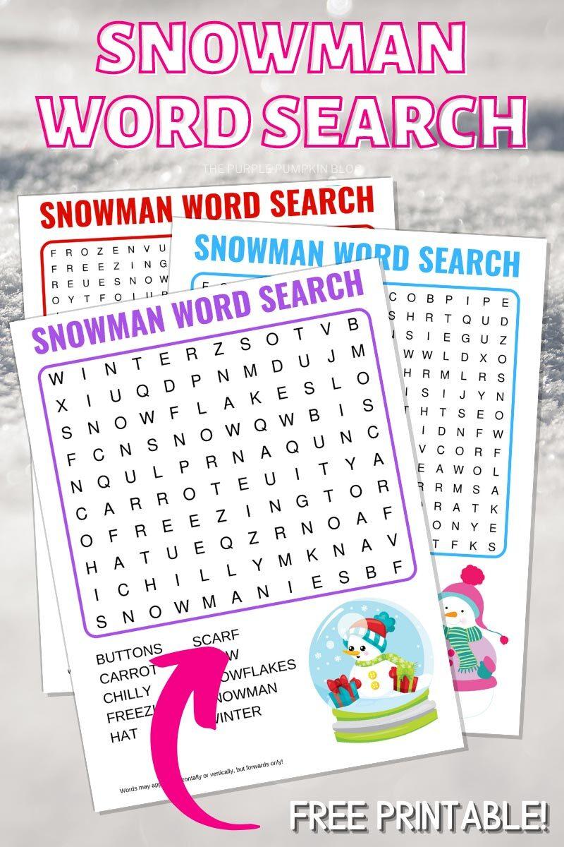 Snowman Word Search Free Printable