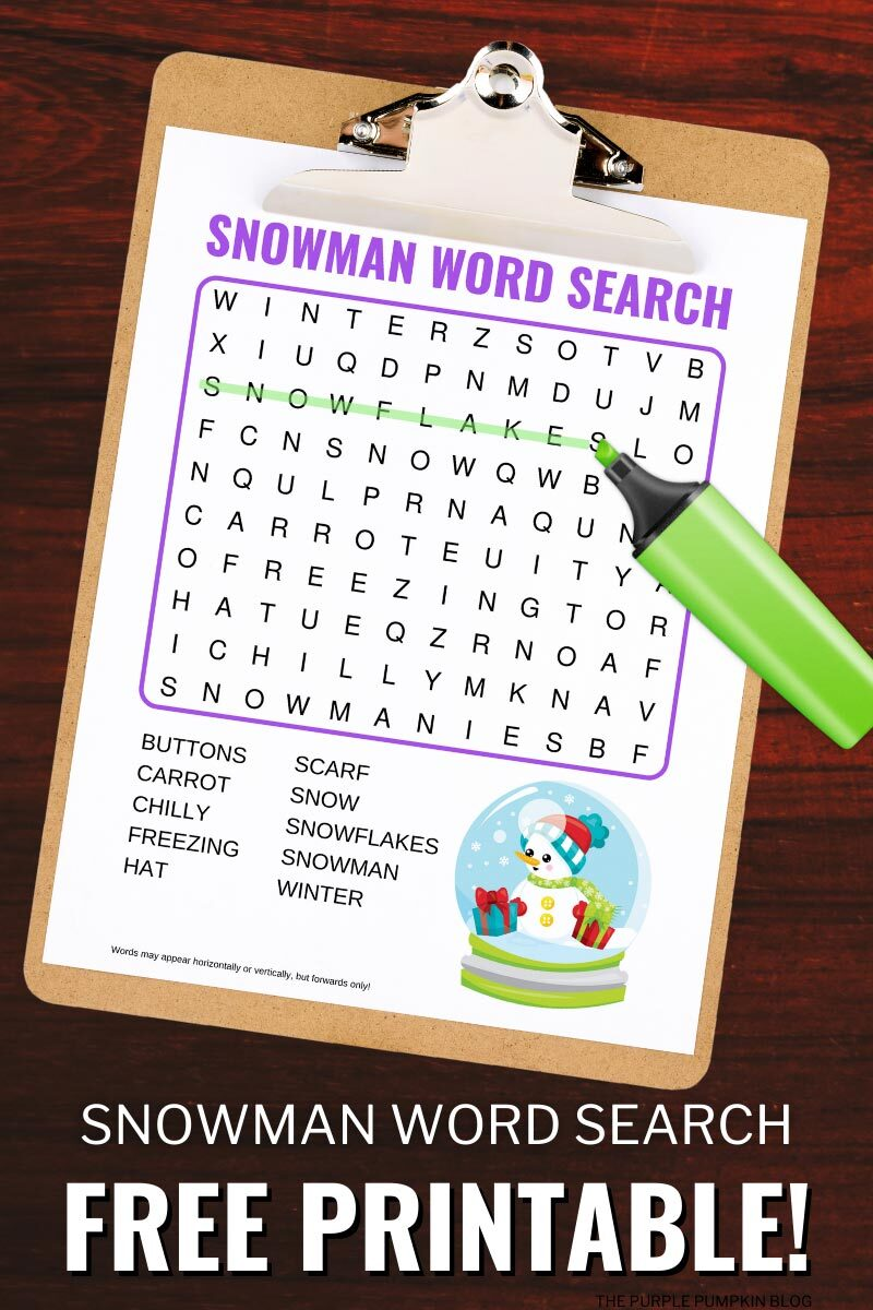 Snowman Word Search Free Printable Activity