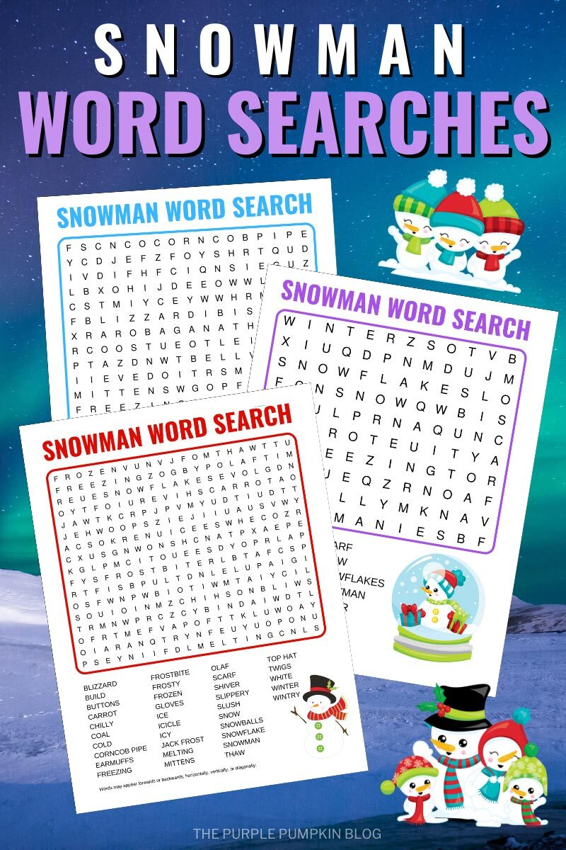 Snowman Word Searches to Print