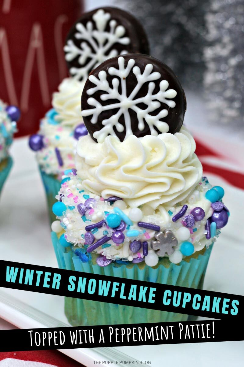 Winter Snowflake Cupcakes Topped with a Peppermint Pattie