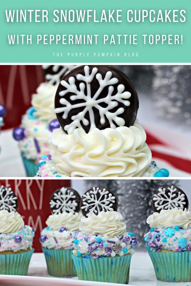 Winter Snowflake Cupcakes with a Peppermint Pattie Topper